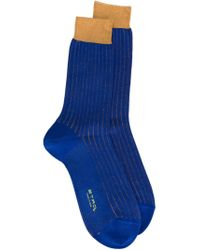 Etro | Blue Ribbed Socks for Men | Lyst