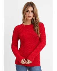 Forever 21 - Red Chunky Fisherman Sweater You've Been Added To The Waitlist - Lyst
