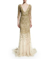 Marchesa - Crystal-Embellished Metallic Gown - Lyst