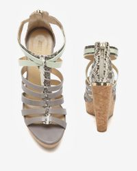 Jimmy Choo | Natural Python Strappy Cork Wedge Sandal | Lyst