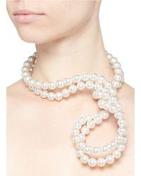 Stella McCartney | White Swarovski Pearl Wire Necklace | Lyst