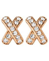 Dyrberg/Kern - Pink Dyrberg/kern Cross Diamante Stud Earrings - Lyst