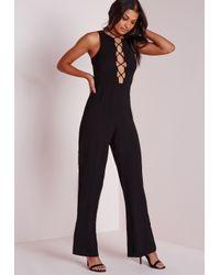 Missguided | Lace Up Front Jumpsuit Black | Lyst
