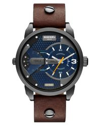 DIESEL - Brown 'mini Daddy' Multi Movement Leather Strap Watch for Men - Lyst