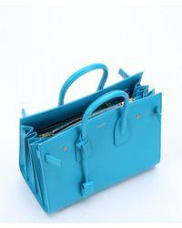 Saint Laurent - Blue Aqua Leather 'Sac De Jour' Tote Bag - Lyst