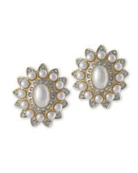 Kenneth Jay Lane | White Pearl And Crystal Clip Earring | Lyst