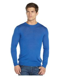 Quinn - Blue Cobalt And Navy Cashmere 'russel' Crewneck Sweater for Men - Lyst