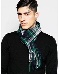 Minimum - Check Wool Scarf - Green for Men - Lyst