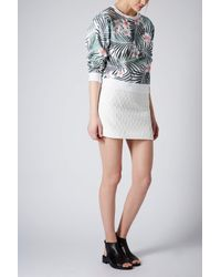 160ae0baa460 TOPSHOP Textured Curve Pelmet Skirt in White - Lyst