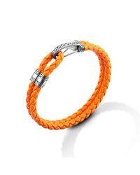 John Hardy | Hook Station Bracelet On Orange Leather Cord for Men | Lyst