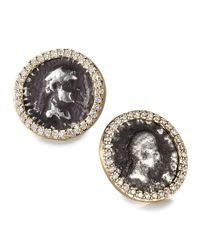 Coomi - Metallic Antiquity 20k Coin Stud Earrings With Diamonds - Lyst