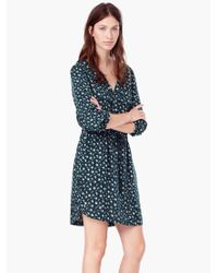 Mango - Green Flowy Printed Dress - Lyst