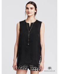 Banana Republic | Black Br Monogram Sleeveless Silk Tunic | Lyst