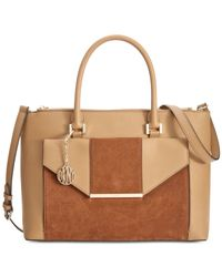 DKNY | Brown Leather Envelope Pocket Tote | Lyst