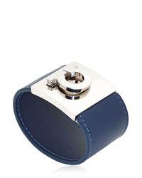 Ferragamo - Blue Gancini Leather Cuff Bracelet - Lyst