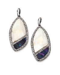ABS By Allen Schwartz | Blue Mother-Of-Pearl Pave Drop Earrings | Lyst