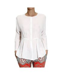Giorgio Armani - White Shirt Long Sleeve Silk With Coulice - Lyst