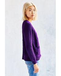 BDG | Purple Classic Fisherman Cardigan | Lyst