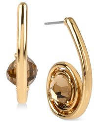 Robert Lee Morris | Metallic Bronze-tone Faceted Stone Swirl Drop Earrings | Lyst