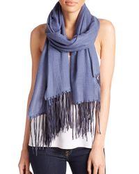 Tilo | Blue Cashmere & Silk-Blend Fringed Scarf | Lyst