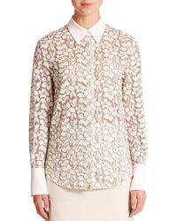 3.1 Phillip Lim   White Silk-trim Lace Shirt   Lyst