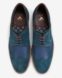 Ted Baker - Blue Suede Derby Brogues for Men - Lyst