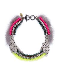 Venna | Multicolor Crystal Pavé Tiger Fur Trim Spike Necklace | Lyst