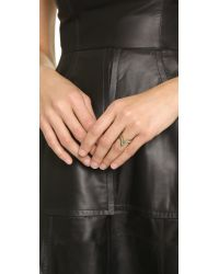 Rebecca Minkoff - Metallic V Stack Rings - Gold/Crystal - Lyst