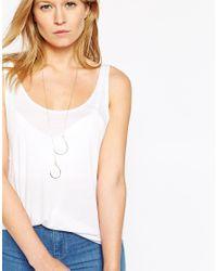 ASOS | Metallic Open Teardrop Fine Lariat Necklace | Lyst