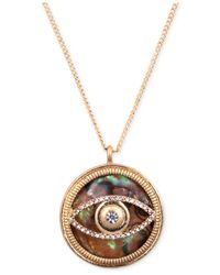 RACHEL Rachel Roy | Metallic Necklace, Worn Gold-Tone Abalone Evil Eye Pendant Necklace | Lyst