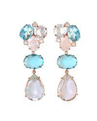 Bounkit | Blue Quartz, Clear Quartz, And Moonstone Earrings | Lyst