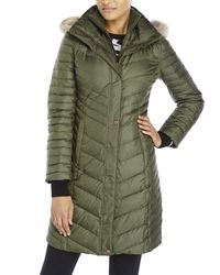 Marc New York - Green Real Fur Trim Down Coat - Lyst