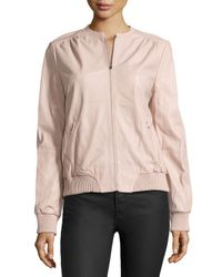 Halston - Natural Leather Zip Jacket - Lyst