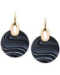 Michael Kors | Metallic Black Agate Semi-precious Stone Earrings | Lyst