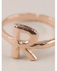 Bjorg | Metallic Alphabet R Ring | Lyst