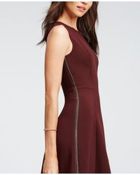 Ann Taylor | Red Braid Seamed Flare Dress | Lyst