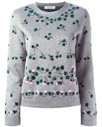 Valentino | Gray Floral-Embroidered Sweatshirt | Lyst