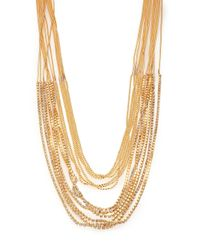 ABS By Allen Schwartz | Metallic Beaded Long Multi-row Chain Necklace | Lyst