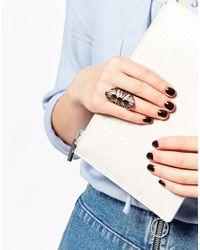 Pieces | Metallic Cut Work Ring | Lyst
