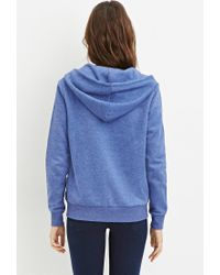 Forever 21 - Blue Zip-up Drawstring Hoodie - Lyst
