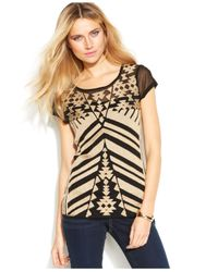 INC International Concepts - Blue Sheer Printed Tie-Front Top - Lyst