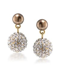 Carolee | Metallic Top Of The Rock Glass Pearl And Crystal Drop Earrings | Lyst