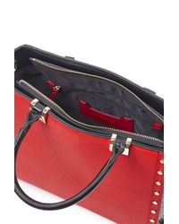 TOPSHOP | Red Studed Top Handle Tote Bag | Lyst