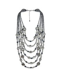 Aeravida - Metallic Midnight Paradise Pearl And Crystal Multi Strand Necklace - Lyst