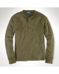 Polo Ralph Lauren | Green Cotton Jersey Henley for Men | Lyst