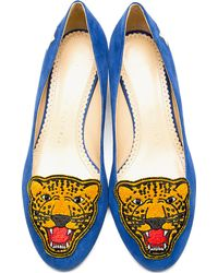 Charlotte Olympia - Blue Suede Mascot Heeled Loafers - Lyst