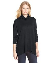 Eileen Fisher - Gray Merino Wool Shark Bite Hem Turtleneck Top - Lyst