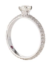 Roberto Coin - Metallic Diamond Solitaire Ring With Pave Diamond Band, Size 6.5 - Lyst