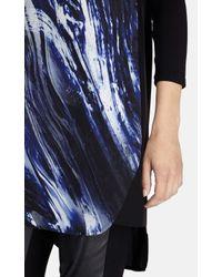 Karen Millen - Black Brushstroke Print T-shirt Dress - Lyst