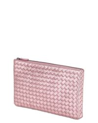 Bottega Veneta - Pink Small Grosgrain Effect Leather Clutch - Lyst